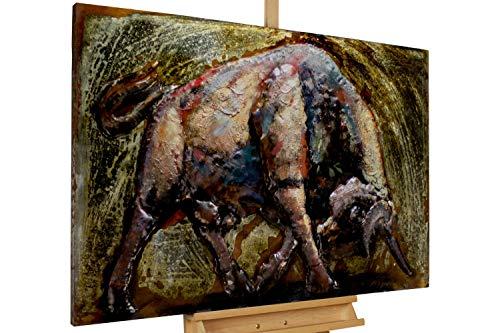Kunstloft Extravagante Relieve de Pared de Metal Toro' 120x80x8cm | Decoración XXL Escultura | Tauro Toro Corrida de toros Animal | Cuadro Hecho a Mano Imagen Mural de Arte Moderno