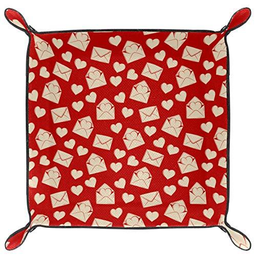 gdfgd Bandeja de dados plegable de piel sintética para juegos de rol y otros juegos de mesa, diseño de corazón con letra de amor rojo retro