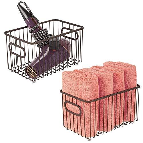 mDesign Set da 2 contenitori con maniglie integrate – Grande organizer da bagno in filo metallico – Pratico cesto per cosmetici, accessori bagno e asciugamani – bronzo