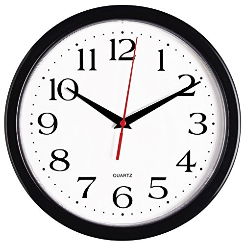 Bernhard Products Black Wall Clock Silent Non Ticking - 10 Inch Quality Quartz Battery Operated Round Easy to Read Home/Office/Classroom/School Clock
