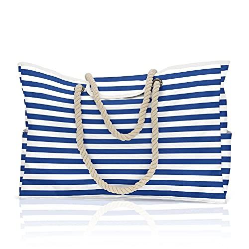 N\C Bolsa de playa de lona con rayas azules y blancas, forro impermeable, hebilla de imán superior, adecuado para gimnasio, playa, bolsa de viaje