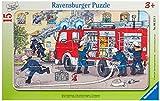 Ravensburger - 06321 - Puzzle Enfant avec Cadre - Ma Voiture De Pompier - 15 Pièces