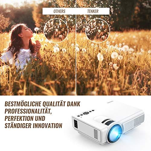 Proyector, TENKER Q5 Mini proyector de video + 20% lúmenes Full HD ...