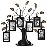 Americanflat Bronze Family Tree with 6 Hanging Picture Frames 2' x 3' in Black and Adjustable Ribbon Tassels - 12'