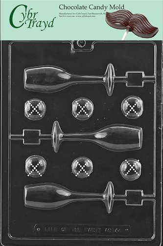 Cybrtrayd Life of the Party AO144 Champagne Glass Lolly All Occasions Chocolate Candy Mold in Sealed Protective Poly Bag Imprinted with Copyrighted Cybrtrayd Molding Instructions