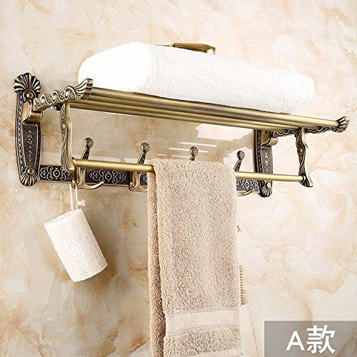 ZXC Bathroom Racks 60 cm douchecabine in wandmontage rack metallic antiek badkamerrek voor badkamer-activiteiten Opvouwbare dubbele rek bar en stijl is een