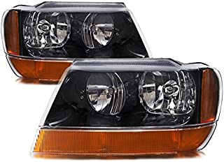 HEADLIGHTSDEPOT Compatible with Jeep Grand Cherokee Laredo New Black Headlights Set w/Amber Signal Lights