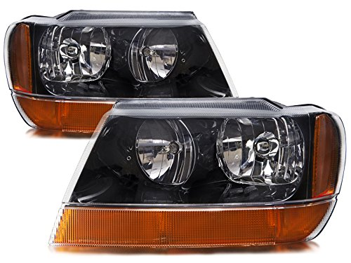 HEADLIGHTSDEPOT Black Housing Halogen Left and Right Headlights Pair Compatible With Holiday Rambler Imperial 2003-2008