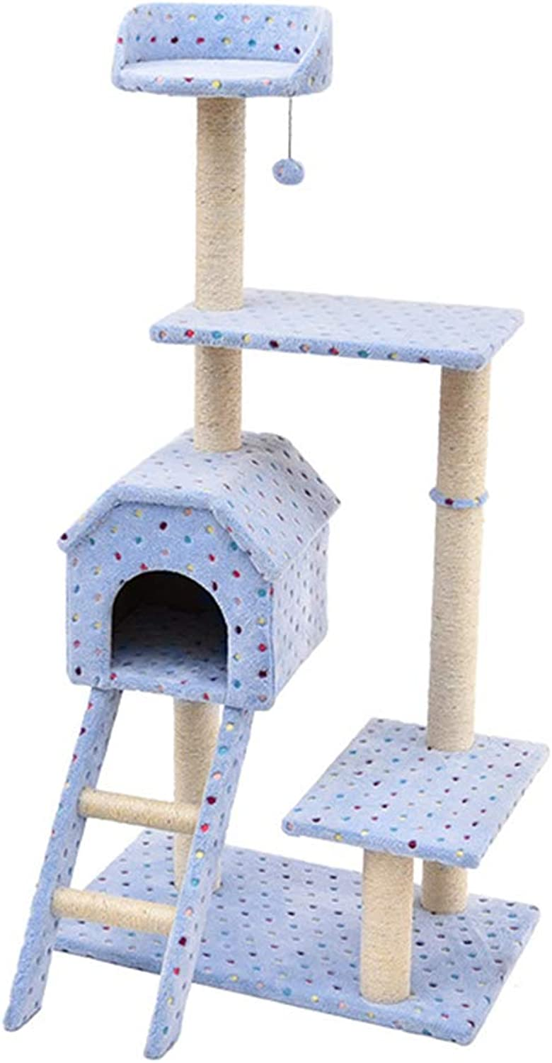 HU Cat Tree Shu Cotton Comfortable Soft Multifunction Multistorey Luxury Small Nest Sisal Grinding Claw Climbing Frame (color   bluee)