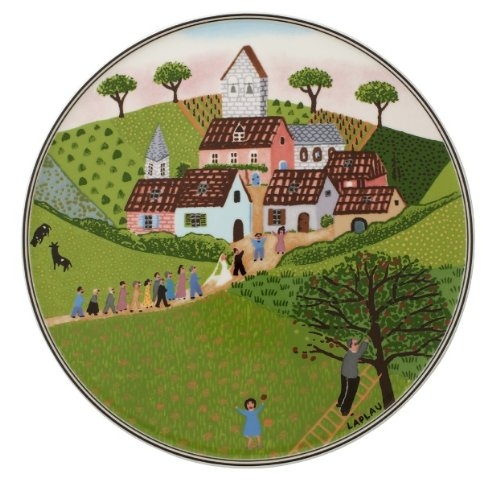 Villeroy und Boch Charm und Breakfast Design Naif Tortenplatte, 30 cm, Premium Porzellan, Weiß/Bunt