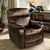 OT QOMOTOP Recliner Chair, Lounge Single Recliner Sofa, Manual Recliner Rocker Chair with 100~160 Degree Reclining for Optimal Comfort, Suitable for Adults &Children to Relax on it (Brown).