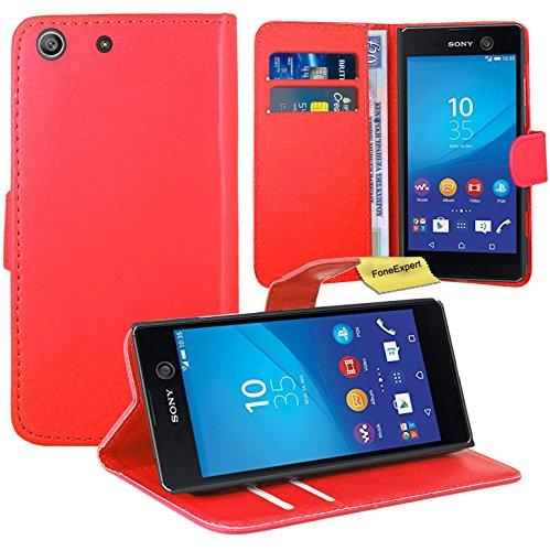 Sony Xperia M5 Handy Tasche, FoneExpert® Wallet Case Flip Cover Hüllen Etui Ledertasche Lederhülle Premium Schutzhülle für Sony Xperia M5 (Rot)