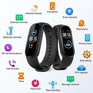 Xiaomi Band 5 Pulsera de Actividad, Fitness Tracker, Monitor de Ritmo Cardíaco, Smartwatch con 1.1''Pantalla AMOLED a Color,100+ diales de temas, 11 Modos Deportivos, 5ATM a Prueba de Agua, Negro