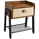 IBUYKE Tavolino, Comodino 45x30x55cm, Tavolino Stretto con Ripiano, Comodino per Soggiorno, Camera da Letto, Design Industriale, Vintage TMJ081H