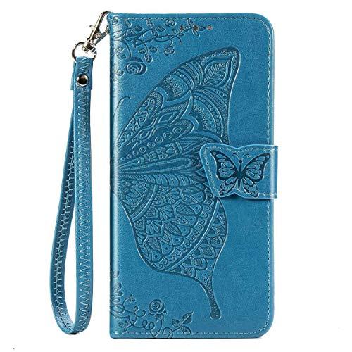 Gelusuk für Samsung Galaxy A11 Hülle und Schutzfolie,Samsung M11 Lederhülle,A11/M11 Handyhülle PU Leder Flip Hülle Tasche Etui Brieftasche Handytasche Cover Klapphülle Wallet Case Blau