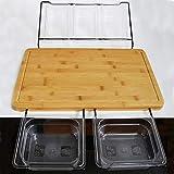 Bambú tabla de cortar con 5 contenedores de almacenamiento extensible multifuncional antideslizante de la Tabla de cortar for la cocina Dropshipping (Color : Full set)