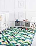 Unique Loom Metro Collection Modern Bright Geometric Dragon Scales Area Rug, for Kids, 8' 0 x 10' 0 Rectangular, Blue/Green