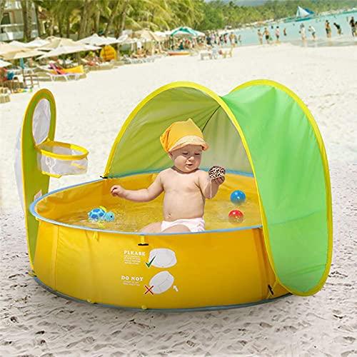 Carpa de Playa para Bebés, 50 + Protección UPF Parasol con Aro de Baloncesto Piscina Plegable para Bebés y Niños Bañera para Jugar al Agua en la Playa al Aire Libre,