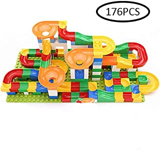 176 PCS Crazy Ball Marble Run Building Blocks Toys Set Marble Race Track for 3+ Year Old Marble Roller Coaster Building Block Toys Creative Gifts for Kids(6 Balls Included)