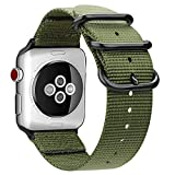 Fintie Armband kompatibel mit Apple Watch SE/Series 6 5 4 3 2 1 44mm 42mm - Premium Nylon atmungsaktive Sport Uhrenarmband verstellbares Ersatzband mit Edelstahlschnallen, Olive