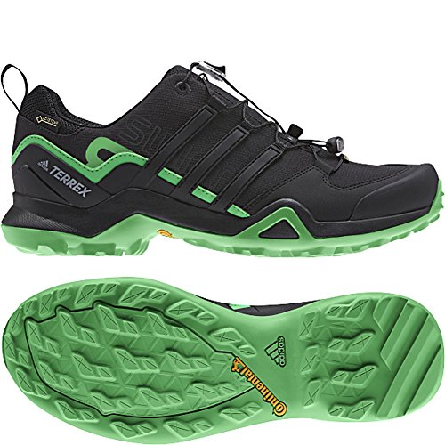 adidas Men's Terrex Swift R2 GTX, Black/Black/Green, 8 D