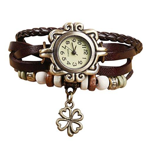 Demarkt Retro Vintage Klee Design Damen Armbanduhr Armreif Uhr Anhänger Spangenuhr Quarzuhren (Khaki)