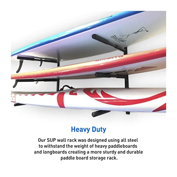 """Easygoproducts egp-surf-006 sup and surf 3 level wall storage for garage or room-paddle board and longboard racks 1 🏄 heavy duty: our sup wall rack was designed using all steel to withstand the weight of heavy paddleboards and long boards creating a more sturdy and durable paddle board storage rack. 🏄 overall protection: each of the 6 arms included of our sup board rack comes equipped with extra thick padding to protect and prevent harm done to your board unlike most paddle board racks. Our steel material is also durable and rust resistant to withstand a salt water environment. 🏄 perfect for many types of boards: unlike a lot of sup racks for wall storage, this paddle board holder can hold up to a 33'' wide board and can hold surfboards, paddleboard, longboards, skis, and some kayaks with a 12"""" spacing in between each arm level."""