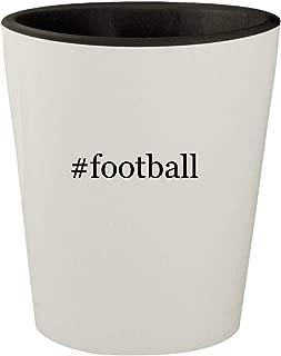 #football - White Outer & Black Inner Hashtag Ceramic 1.5oz Shot Glass