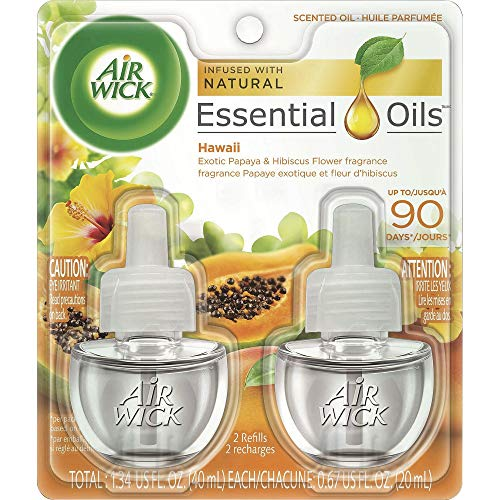 Air Wick Scented Oil Plug In Air Freshener, National Park Collection, Hawaii, Twin Refills, 0.67 Ounce, Yellow