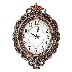 ufengke European Vintage Oval Wall Clock Bronze Color Large Silent Fancy Quartz Clocks for Living Room Lounge 28 20
