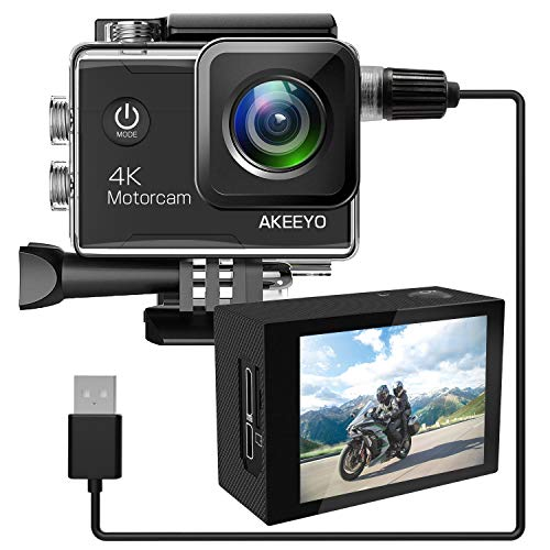 AKEEYO バイク ドライブレコーダー 170度広角 4K ドラレコ HDR 手ブレ補正 防水ハウジング 32GBmicroSDカード付属 ドライブカメラ ループ録画 音声記録(AKY-A1)