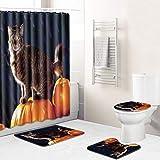 LAL6 Ducha Halloween Cortina De La Estera Baño Set 4 Piezas Baño Alfombras Inodoro Sin Recorte Antideslizante para Colgar Aseo Baño Ducha Lavable Alfombra Estera,Cat,45 * 75cm