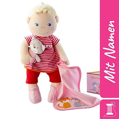 HABA Stoffpuppe Jule mit Namen Bestickt, weiche Erste Baby Puppe mit Kleidung und Haaren, ab 1 Jahr Kuschelpuppe Taufgeschenk, Anziehpuppe Kuschelpuppe 303724