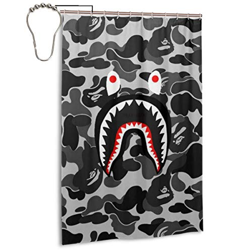NA-1 Ba-pe Shark Face Cool Camo Waterproof Polyester Fabric Bathroom Curtains Set with Hooks Modern Bathroom Decor(48 x 72 inch)