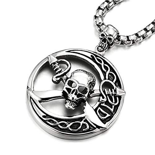 ZWR Collar con Colgante de Calavera Pirata de círculo Grande de Acero Inoxidable para Hombre, Cadena de 30 Pulgadas, Tribal gótica, Acero de Titanio para Hombre, Regalo Creativo
