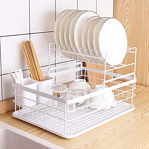 COVAODQ Drain Bowl Rack Detachable Drying Rack Dish 2-Layer Drying Rack with drip Tray Cutlery Rack Dish Rack Drain Board Rack Storage Box Set 43×32×27cm White