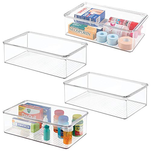 mDesign Juego de 4 Cajas apilables con tapadera – Práctica Caja de plástico con Tapa para Guardar medicamentos – Caja de almacenaje apilable para organizar el hogar – Transparente