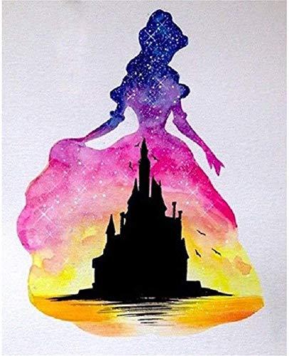 Pintura Diamante Princesa castillo 5D DIY completo taladro Kits cruz bordado Crystal Rhinestone número de punto de cruz bordado artes Diamond Painting decoración de la pared hogar A1026 30x40cm