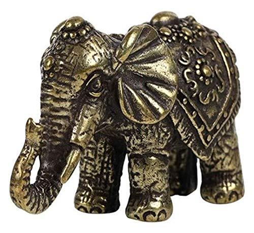WQQLQX Statue Lucky Elephant Statue Pure Messing Tierskulptur Dekoration Zubehör Gartendekoration Kreative Mini Segen Elefant Handwerk Figuren Geschenke Skulpturen