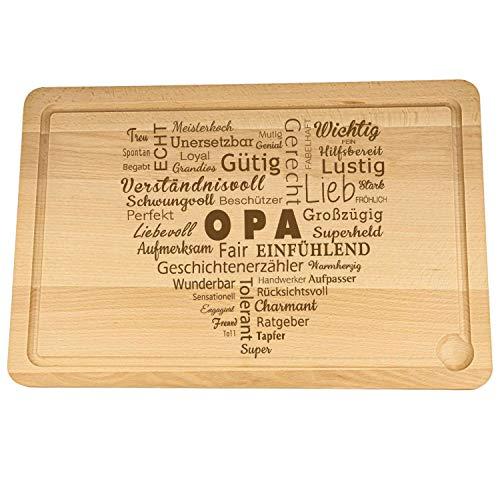 Spruchreif PREMIUM QUALITÄT 100% EMOTIONAL · XXL Schneidebrett aus Holz · Schneidebrett mit Gravur in Herzform · Wortherz für Opa · Geschenke für Papa · Opa Geschenk · Geschenk Opa