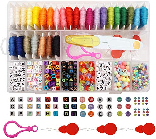 "Peirich Friendship Bracelet Making Beads Kit, Letter Beads,22 Multi-Color Embroidery Floss Over 1900 pcs""A-Z"" Alphabet Beads Beads Bracelets String Kit for Jewelry Making Christmas Birthday Gifts"