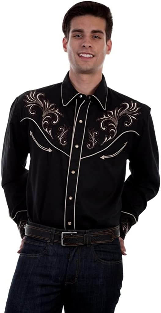 Scully Western Shirt Mens L/S Floral Scrolls Embroidery F0_P-870
