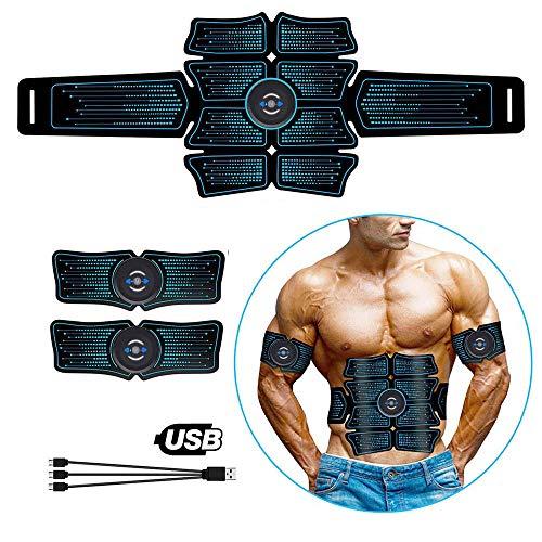 SZYM Electroestimulador Muscular Abdominal EMS Abs Electroestimulación Gimnasio en casa Entrenador Músculos Toner Ejercicio Equipo de Fitness Cargado por USB Ejercicio En Casa Estimulador Abdominal