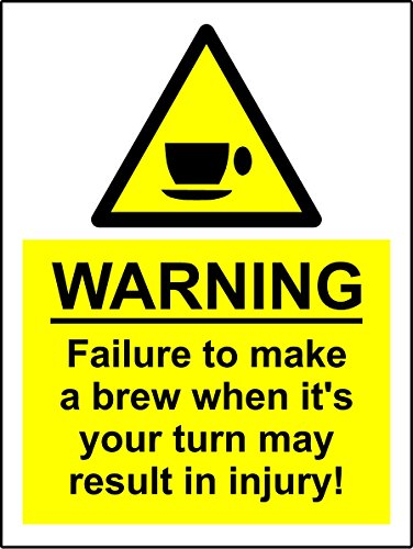 A5 Comedy Werkplek Thee Koffie Break Machine Sticker Spillage Chemische ongeval - Zelfklevende vinyl 150mm x 200mm