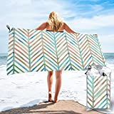 mengmeng pino Chevron - blanco Toalla de secado rápido para deportes, gimnasio, viajes, yoga, camping, natación, súper absorbente, compacta, ligera, toalla de playa