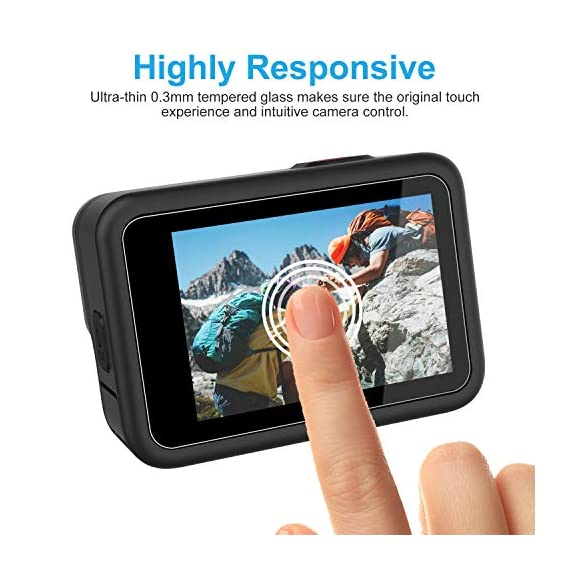 Kupton Screen Protector 6 Pcs Compatible with GoPro Hero 9 Black, Ultra Clear Tempered Glass Screen Protector, Tempered… 7 【Professional Design】Specialized round-edged design, Kupton screen protector with strong adhesion provides full protection for your screen and lens, leaving zero bubble after installation. (NOT COMPATIBLE WITH MEDIA MOD DUE TO FULL COVERAGE.) 【0.3mm Thickness】Made of anti-fingerprint and anti-reflective ultra-thin tempered glass, Kupton screen protectors bring you HD clear viewing, and maintain the original touch experience. 【9H Hardness】Featuring 9H hardness along with laser cut size, this tempered glass screen protector set safeguards your camera from scratches, scuffs, dust and bumps.