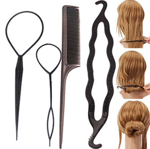 Cuhair 1 Set / 4Pc Mode féminine Lady Hair Twist Styling broche clip barette bâton Bun Maker Braid Outil Accessoires