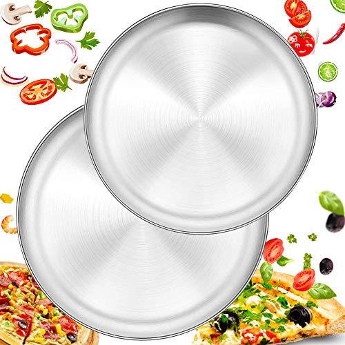 FANDE Pizzablech, Rund Pizzaform 23cm/17cm Edelstahl Pizza Backblech 2 Stück für Backofen Backen Einfach zu Reinigen&Spülmaschinenfest