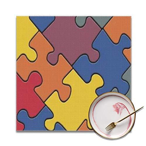 Wrution Bingo Classic Linoleum Tischsets Esstisch waschbar gewebtes Vinyl Tischset Küche Mats Hitzebeständig Set von 4 Stück 30,5 x 30,5 cm