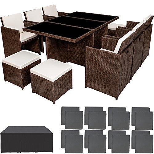 TecTake Poly ratán aluminio sintético muebles de jardín comedor juego 6+4+1 + funda completa + set de fundas intercambiables - disponible en diferentes colores - (Marrón antiguo)